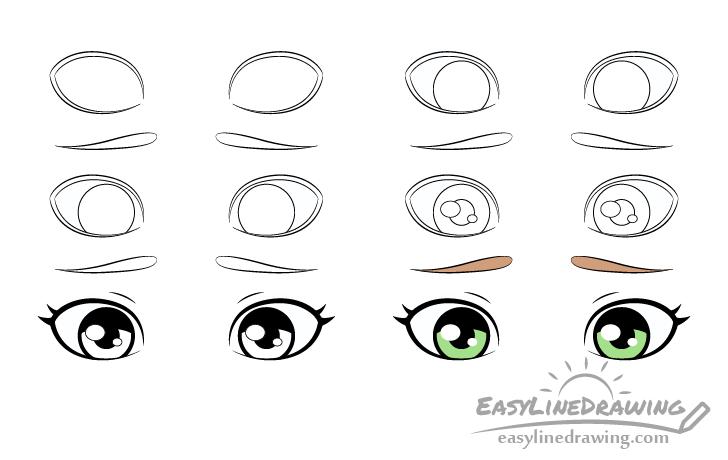 Embarrassed eyes drawing step by step