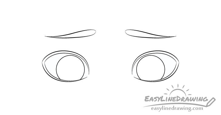 Embarrassed eyes eyebrows drawing