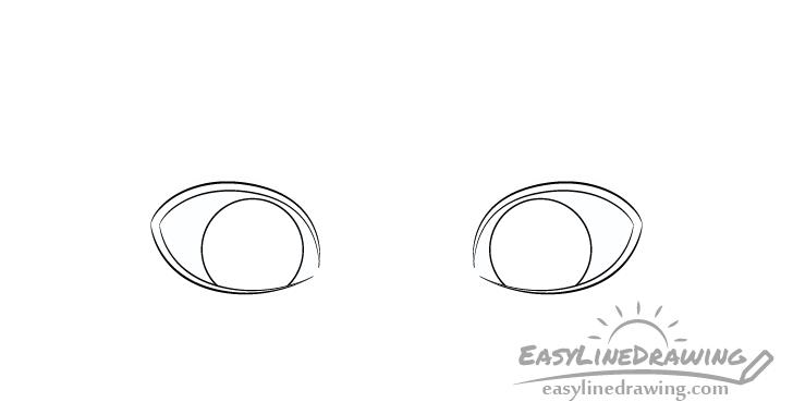 Embarrassed eyes irises drawing