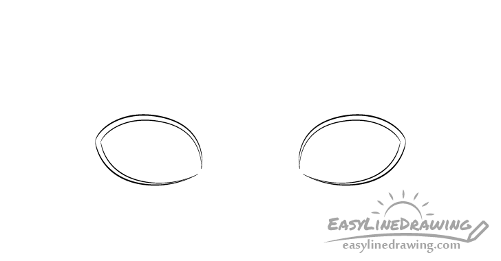 Embarrassed eyes outline drawing