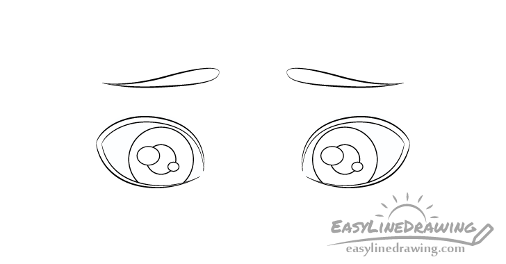 Embarrassed eyes pupils drawing