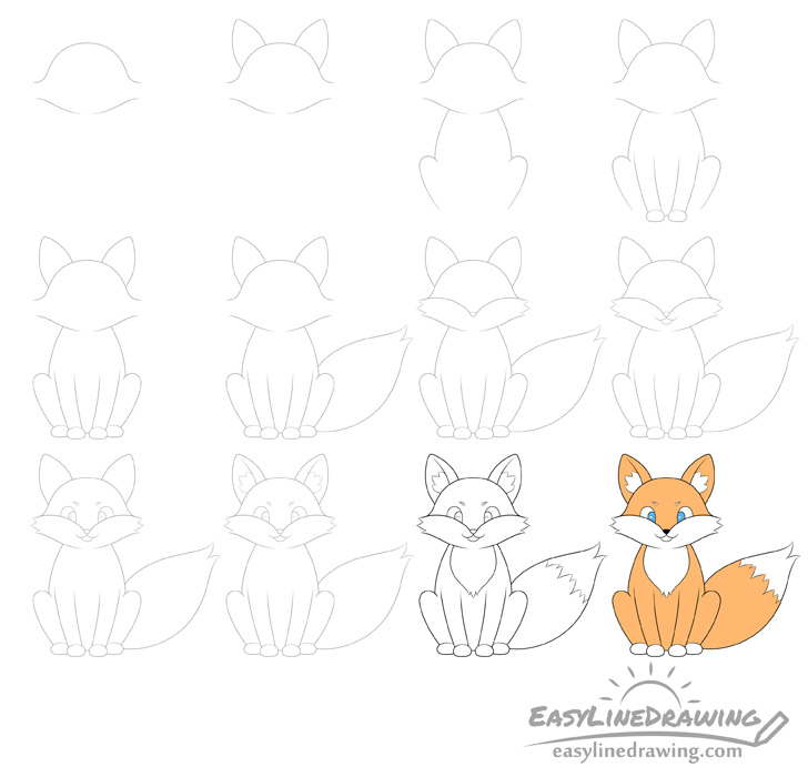 Fox drawing step by step