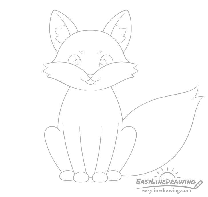 Fox ear fur drawing