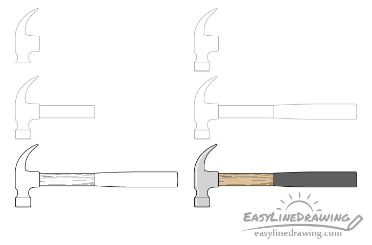 Hammer drawing step by step