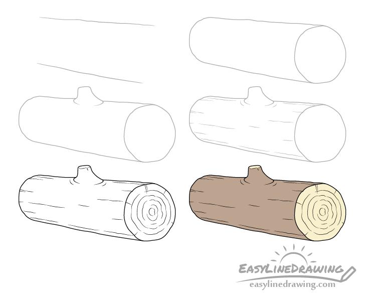 Log drawing step by step