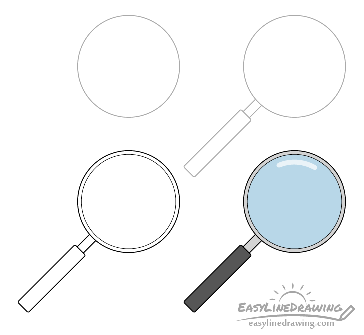 Magnifying glass drawing step by step
