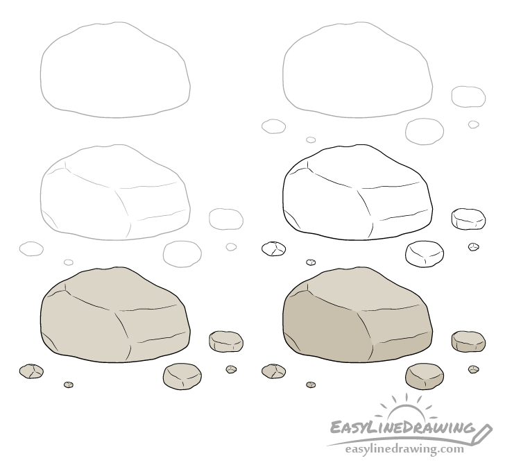 Rock drawing step by step