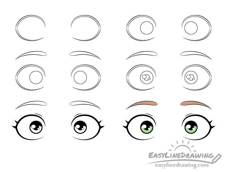 Scared eyes drawing step by step