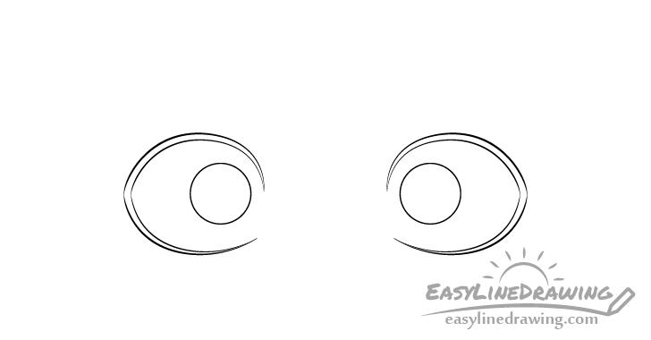 Scared eyes irises drawing