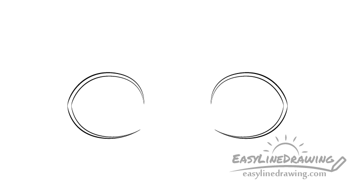Scared eyes outline drawing