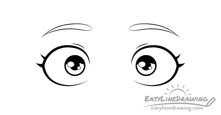Scared eyes shading