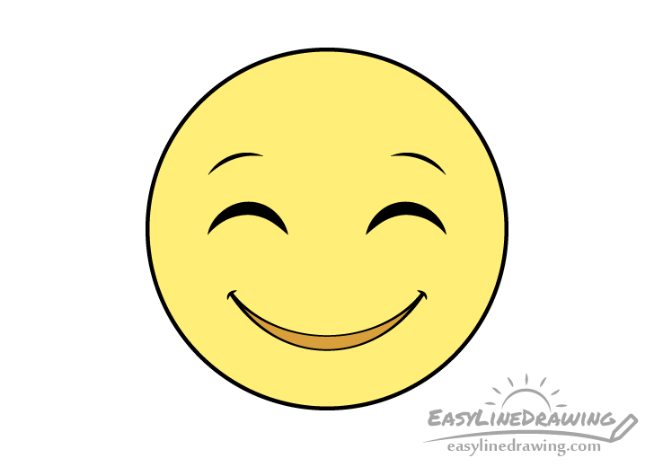 Smiling face emoji drawing