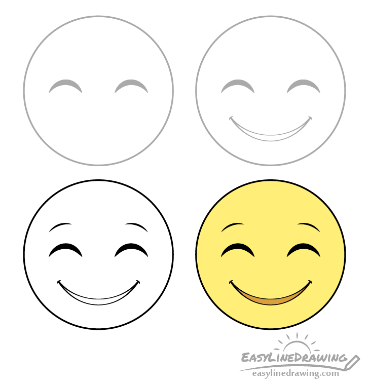 Smiling face emoji drawing step by step