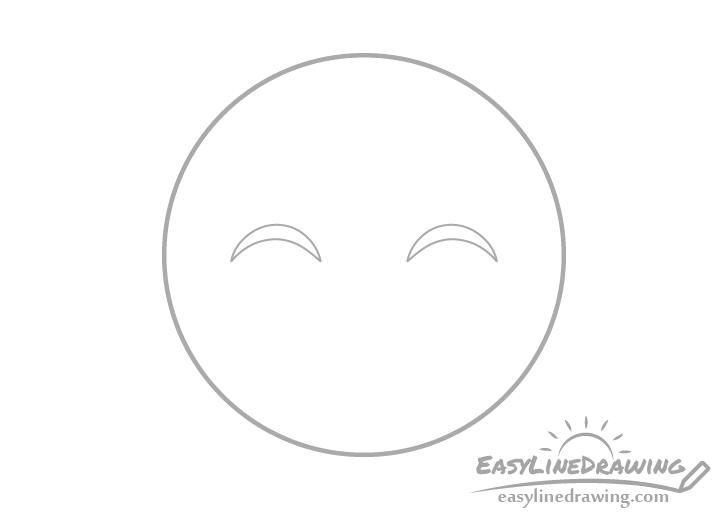 Smiling face emoji eye outlines drawing