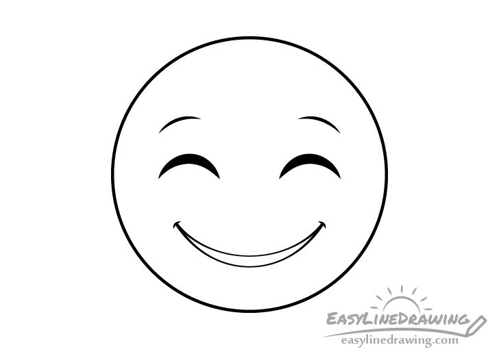 Smiling face emoji line drawing