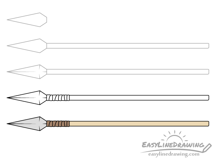 Spear drawing step by step