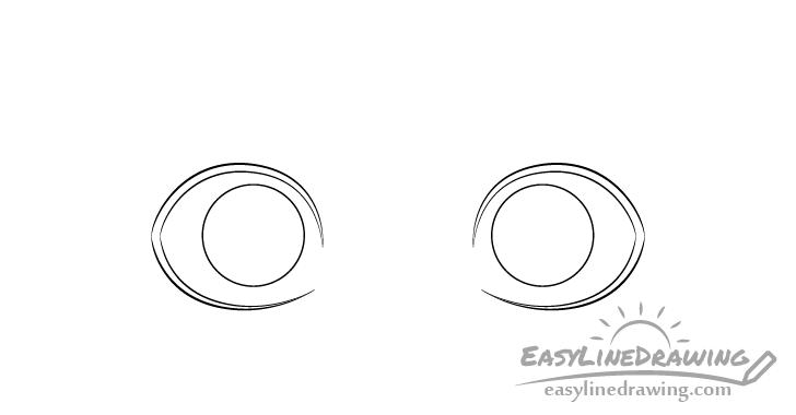 Surprised eyes irises drawing
