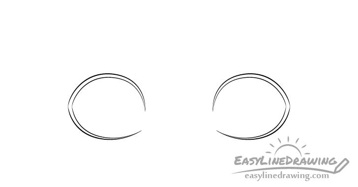 Surprised eyes outline drawing