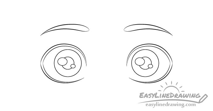 Surprised eyes pupils drawing