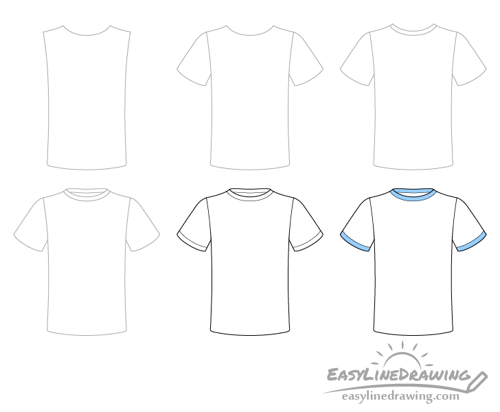 T-shirt drawing step by step