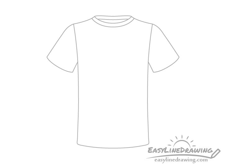 T-shirt neckline back drawing