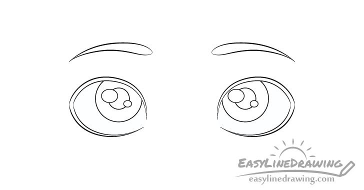 Thinking eyes pupils drawing