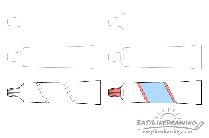 Toothpaste tube drawing step by step