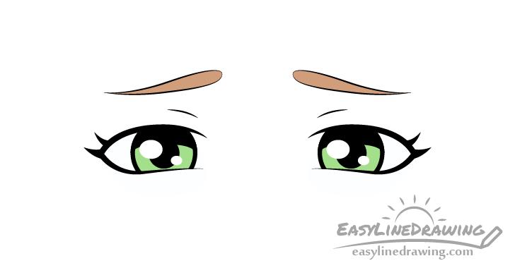 Upset eyes drawing