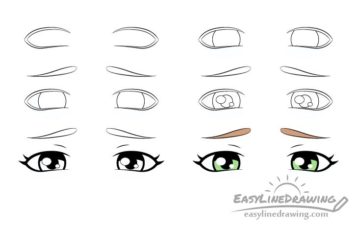 Upset eyes drawing step by step