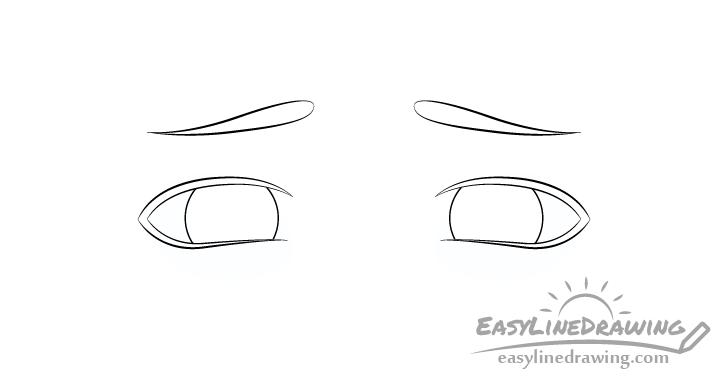 Upset eyes eyebrows drawing