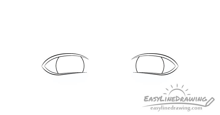 Upset eyes irises drawing