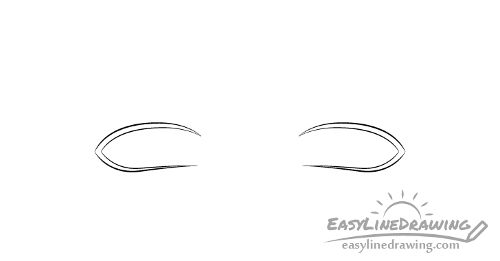 Upset eyes outline drawing