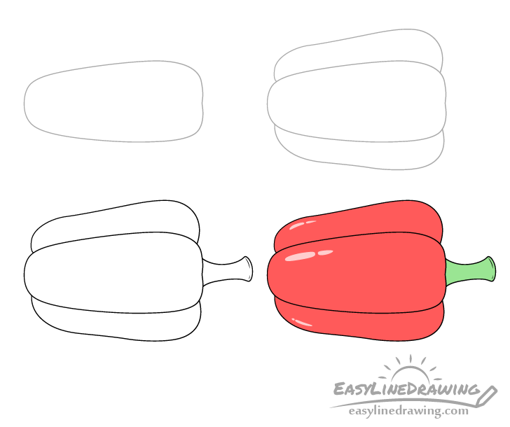 Bell pepper drawing step by step