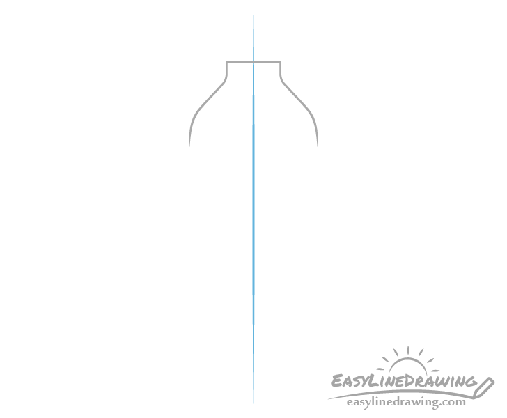 Bottle of water center line drawing