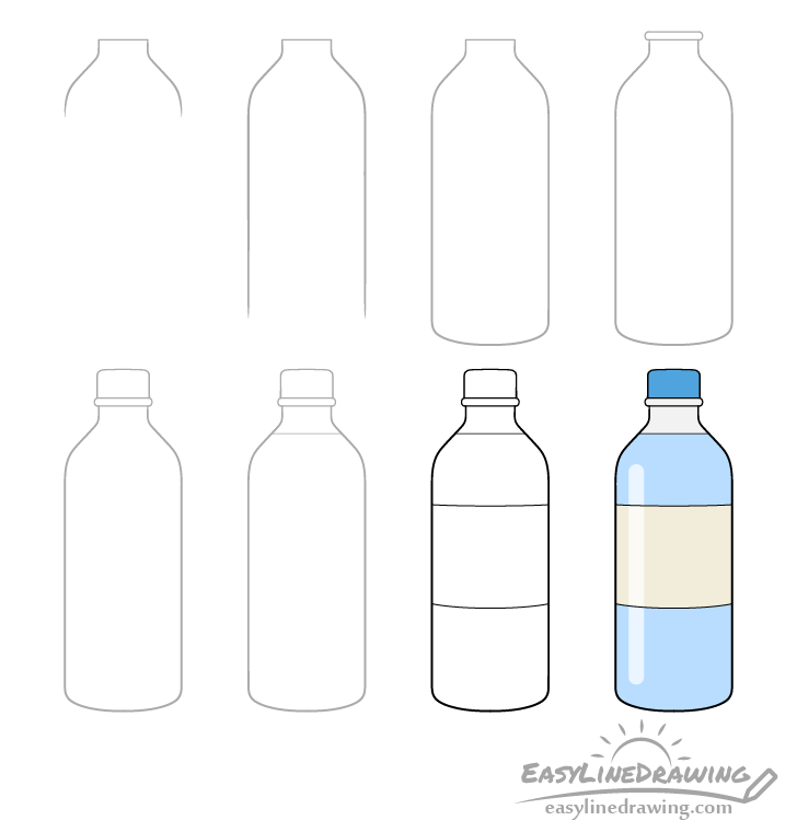 Bottle of water drawing step by step