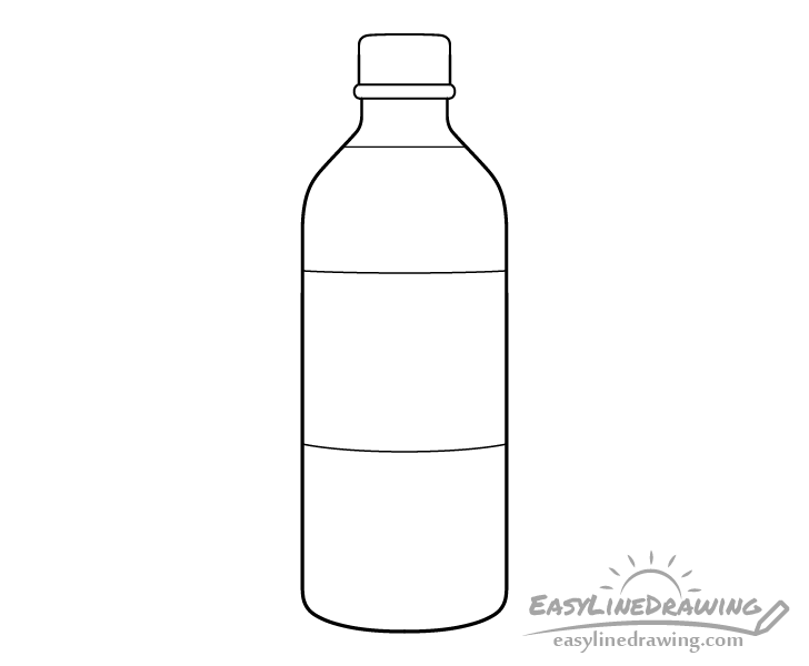 Bottle of water line drawing