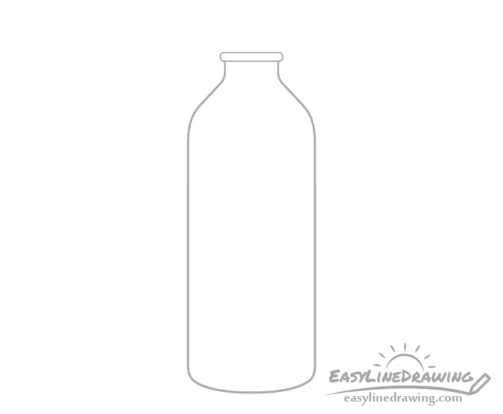 Bottle of water neck ring drawing