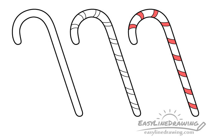 Candy cane drawing step by step