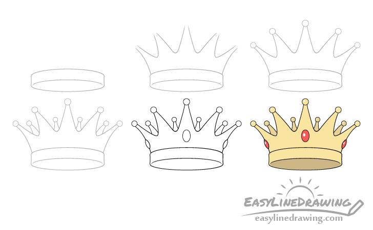 Crown drawing step by step