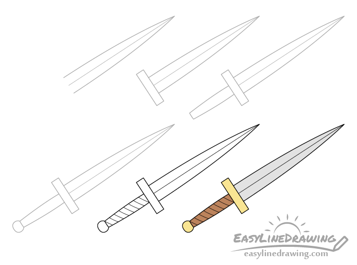 Dagger drawing step by step