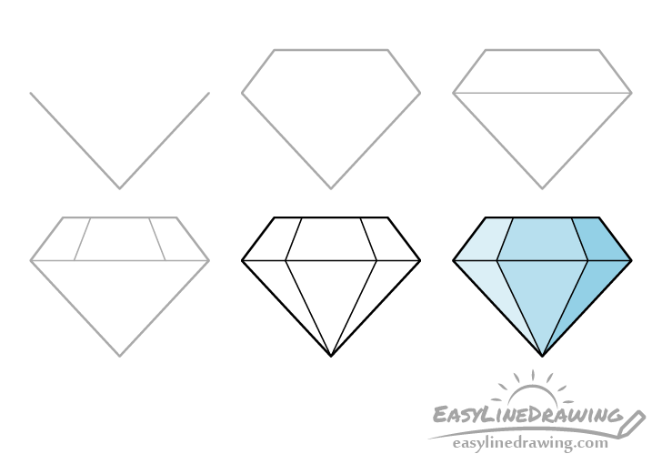 Diamond drawing step by step