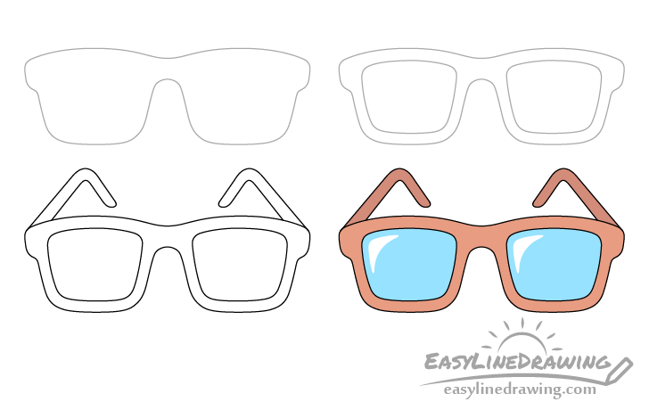 Glasses drawing step by step