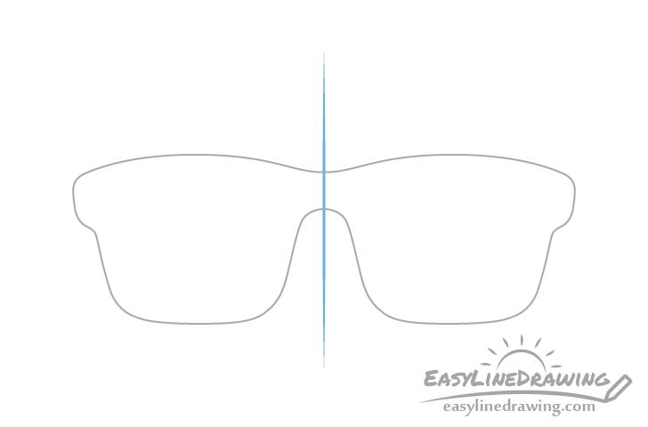 Glasses frame centerline drawing