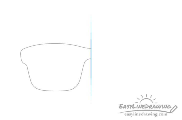 Glasses frame half drawing