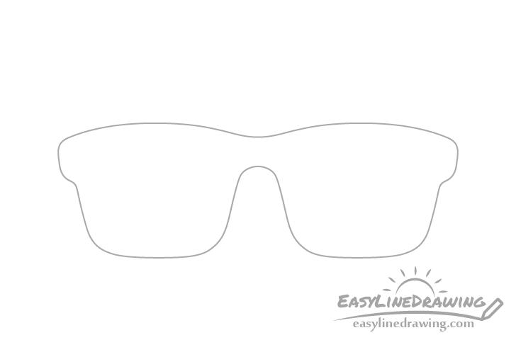 Glasses frame outline drawing