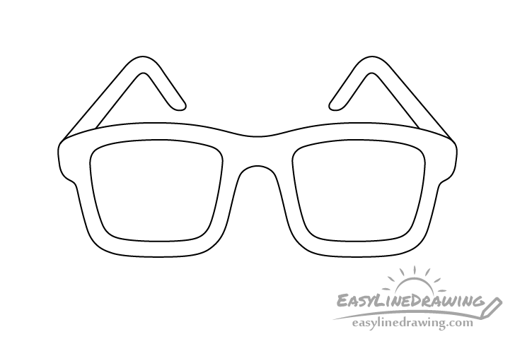 Glasses line drawing