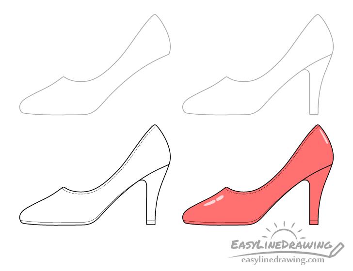 High heel shoe drawing step by step