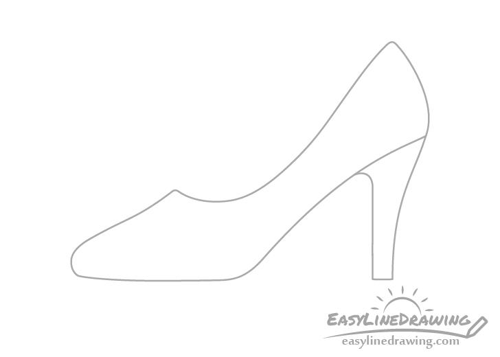 High heel shoe heel drawing