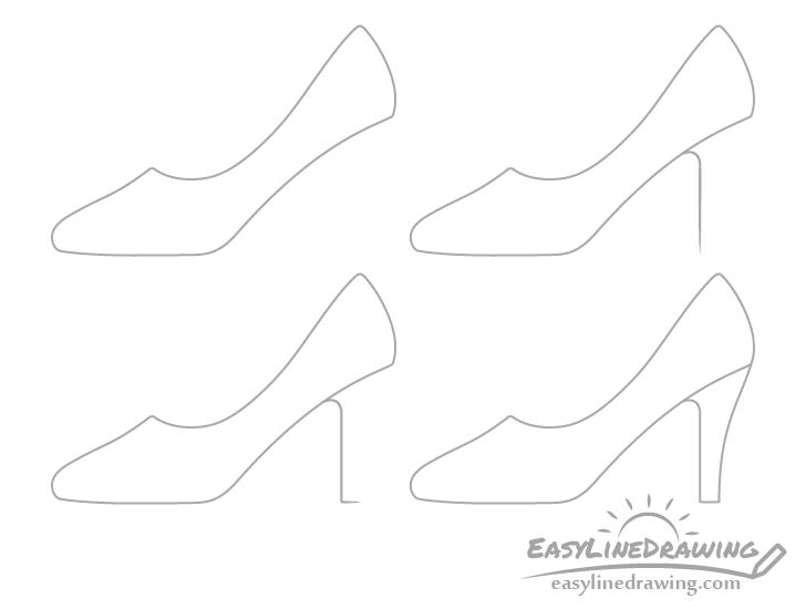 High heel shoe heel drawing step by step