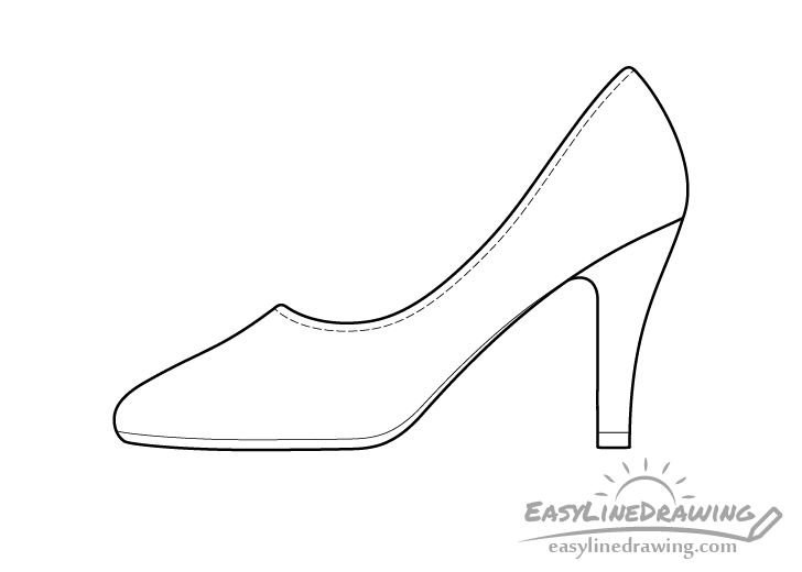 High heel shoe line drawing
